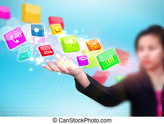 Geschäftsfrau hält soziale Medien-Ikone