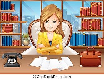 Geschäftsfrau im Büro.