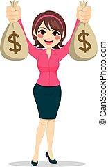 Geschäftsfrau mit Geldbeuteln.