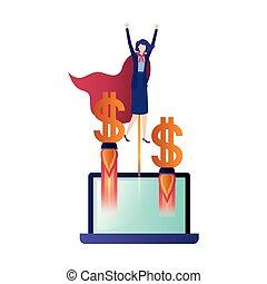 Geschäftsfrau mit Symbolen.