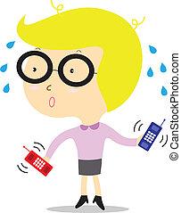 Geschäftsfrau mit Telefon.