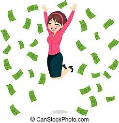Geschäftsfrau springt Geld.