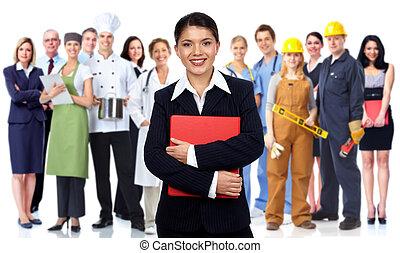 Geschäftsfrau und Arbeitergruppe.