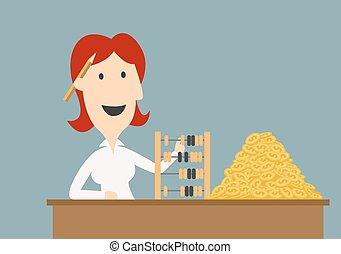 Geschäftsfrau zählt Goldmünzen mit Abakus.
