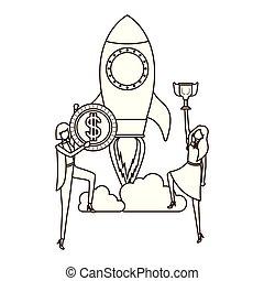 Geschäftsfrauen mit Symbolen.