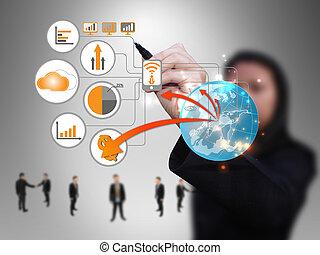 Geschäftsfrauen-Technologie-Netzwerk