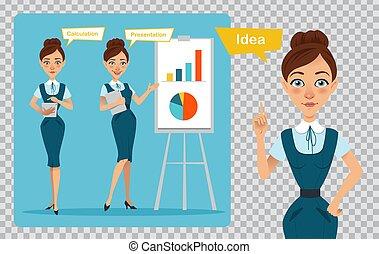Geschäftsfrauenfiguren im transparenten Hintergrund. Das Mädchen hat eine Idee. Das Mädchen zeigt Präsentation, berechnet Profit