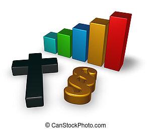 Geschäftsgrafik mit christlichem Kreuz und Absatzsymbol - 3d Rendering.