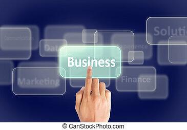 Geschäftshand drücken Touchscreen