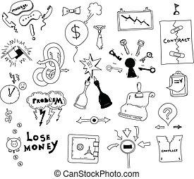 geschäftsillustration, hand, interesse, gezeichnet, konflikt