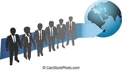 Geschäftsleute arbeiten für die globale Zukunft