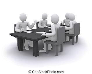 Geschäftsleute arbeiten, sitzen am Tisch