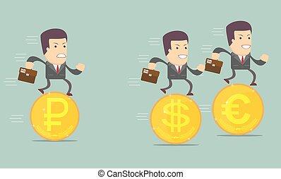 Geschäftsleute auf den Münzen laufen.