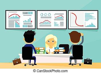 Geschäftsleute Büro-Büro-Händler Finanz-Crisis-Computern Finanzierung Graph sinken Trend negativ.