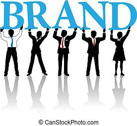 Geschäftsleute bauen Markenidentitäts-Wort