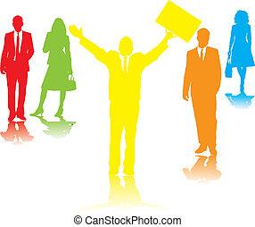 Geschäftsleute beten Regenbogen
