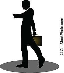 Geschäftsleute, die mit Aktentaschen-Silhouette laufen.