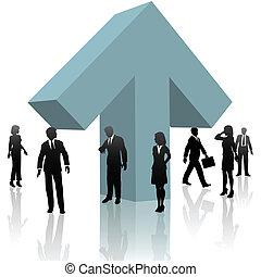 Geschäftsleute, die Pfeile sammeln, um voranzukommen