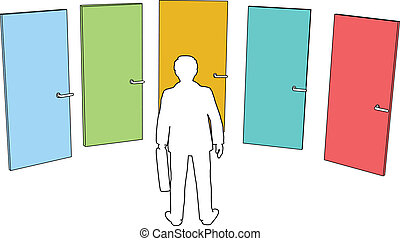 Geschäftsleute entscheiden sich für Türen