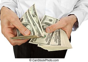 Geschäftsleute haben Geld in der Hand