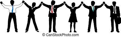 Geschäftsleute halten Händchen