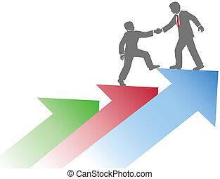 Geschäftsleute helfen dabei, Erfolg zu haben