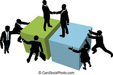 Geschäftsleute helfen, einen Deal zu erzielen