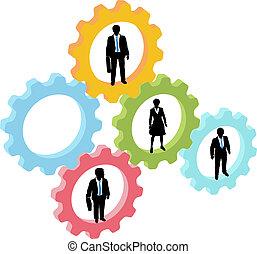 Geschäftsleute in Technologie-Ausrüstung