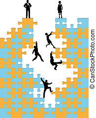 Geschäftsleute klettern auf Unternehmenserfolg Rätsel