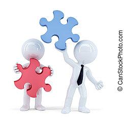 Geschäftsleute mit Puzzleteilen. Teamwork Konzept. Isoliert. Enthält Schnittpfade