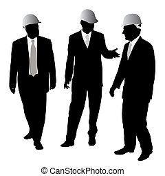 Geschäftsleute mit Schutzhelm