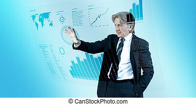 Geschäftsleute navigieren in Zukunft Interface