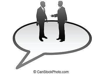Geschäftsleute reden in Kommunikations-Blase