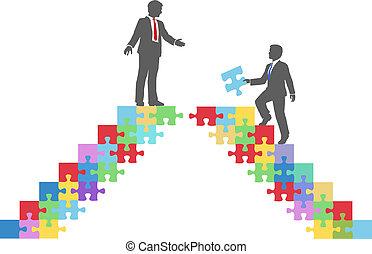 Geschäftsleute schließen sich der Rätselbrücke an