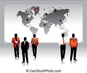 Geschäftsleute Silhouettes, Weltkarte