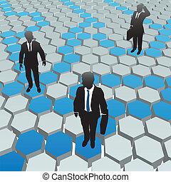 Geschäftsleute, soziale Medien-Hexagon-Netzwerke