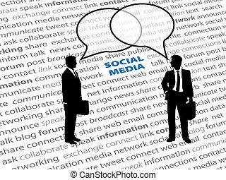 Geschäftsleute, Sozialnetz-Text, reden über Blasen