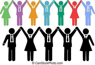 Geschäftsleute symbolisieren Händchen halten