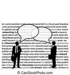 Geschäftsleute teilen sich soziale Netzwerke mit Blasen