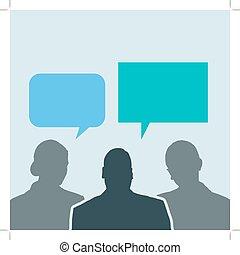 Geschäftsleute teilen soziale Netzwerkgespräche
