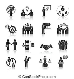 Geschäftsleute treffen Symbole.