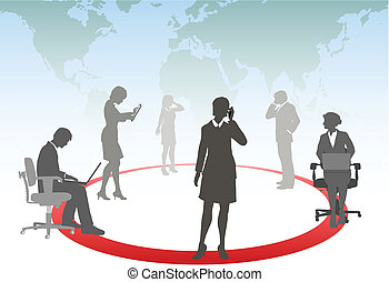 Geschäftsleute verbinden schlaue Telefongespräche mit Computertabletten in einem Mediennetzwerk