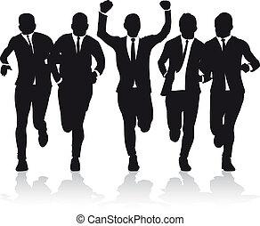 Geschäftsmänner laufen.
