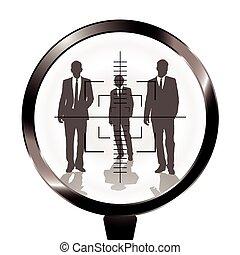 Geschäftsmänner schießen das Ziel