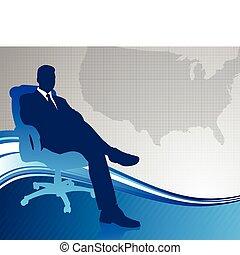 Geschäftsmanager auf US-Kartenhintergrund