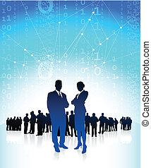 Geschäftsmanager mit globalem Finanzteam