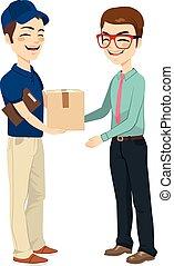 geschäftsmann, annahme, post, paket