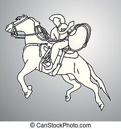 Geschäftsmann auf Pferd mit Lasso Vektor-Doodle-Doodle-Hand gezeichnet mit schwarzen Linien isoliert auf grauem Hintergrund. Geschäftskonzept.