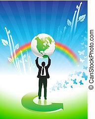 Geschäftsmann auf Regenbogen Umweltschutz Hintergrund.