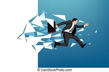Geschäftsmann bricht durch die Wand.